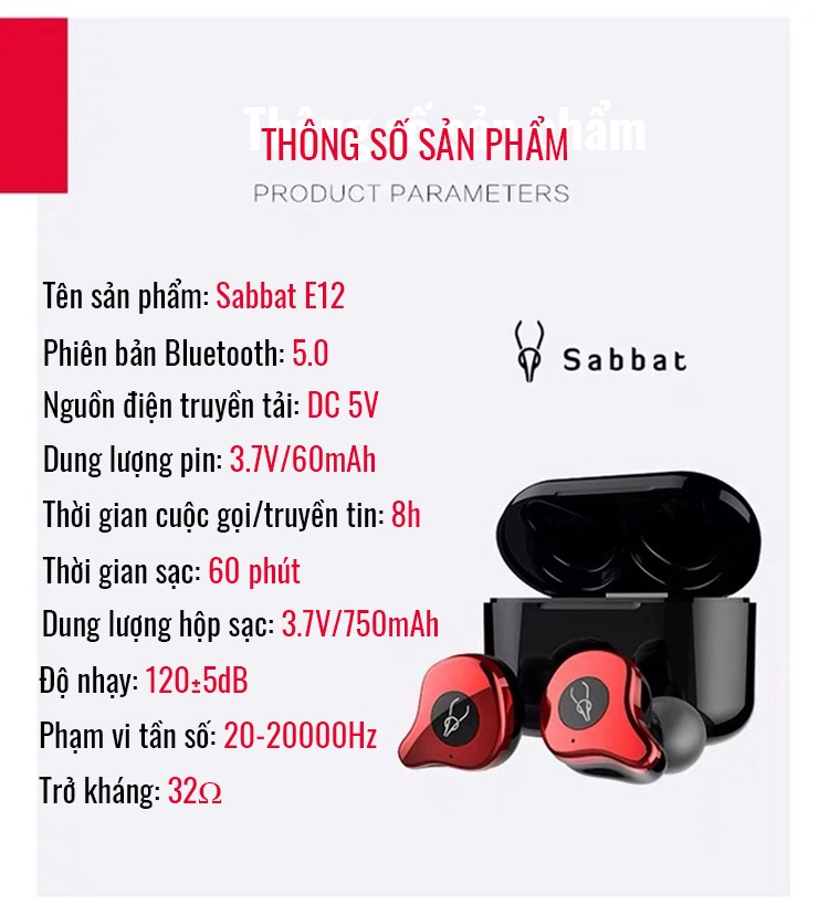 Tai Nghe Bluetooth 5.0 Sabbat E12 10