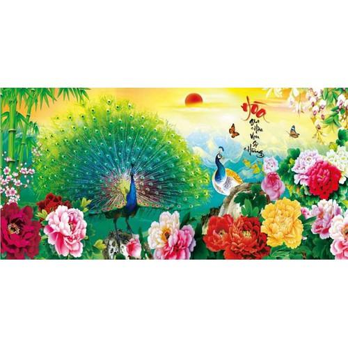 Tranh dán tường đôi chim công chữ Hòa 3D VTC UD0033B kt 100 x 50 cm