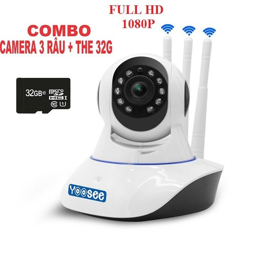 Camera wifi Yoosee 3 RÂU Full HD 1080P 2.0MP KÈM THẺ 32GB
