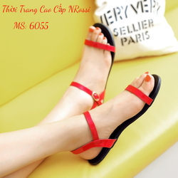Giày Xăng Đan Đế Bệt Màu Đỏ Size 41 42 43