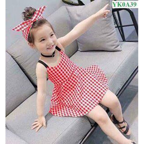 Váy kẻ karro kèm tuban đáng yêu cho bé