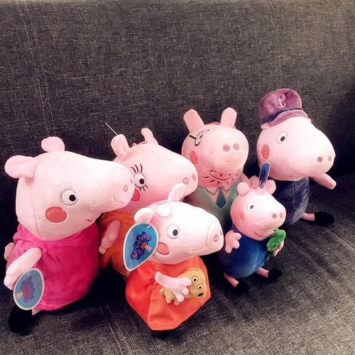Thú Nhồi Bông Gia Đình 6 Con Heo Peppa Pig 25 – 35 cm