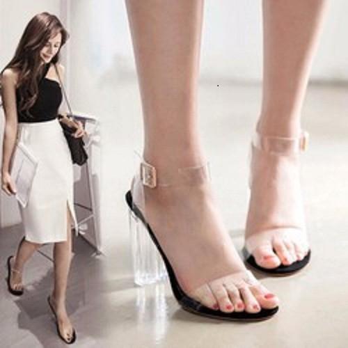 Giày cao gót nữ trong suốt quai trong - Giày cao gót nữ trong suốt 2 quai trong