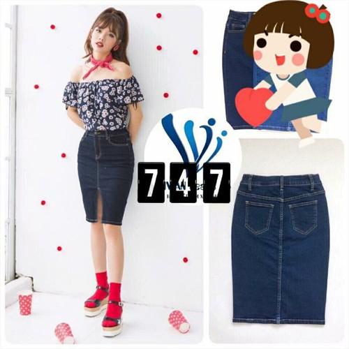 Chân váy jeans dài đơn giản