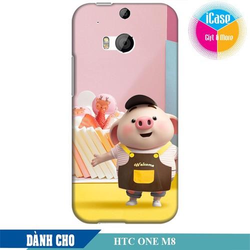 Ốp lưng nhựa cứng nhám dành cho HTC One M8 in hình Heo Con Vào Bếp