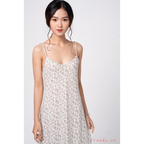 Váy cotton hoa sáng màu cổ tim basic