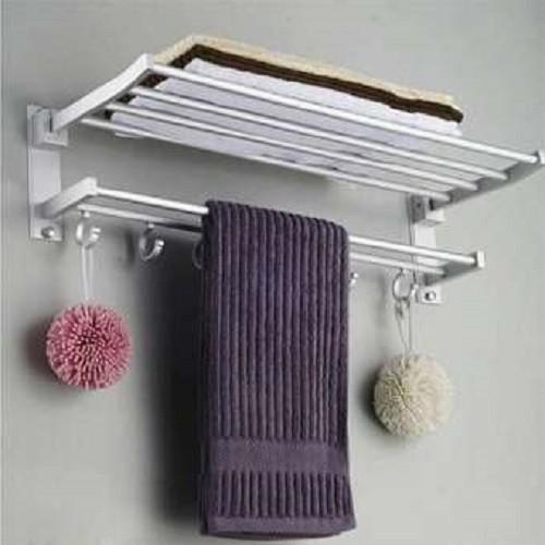 Giá treo khăn nhà tắm 2 tầng có móc treo TGDHOAC115