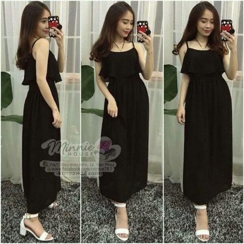 Đầm maxi voan màu đen