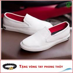 Giày Slip On Nam Aroti Đế Khâu Chắc Chắn Phong Cách Đơn Giản Màu Trắng - M498-TRANG-060319