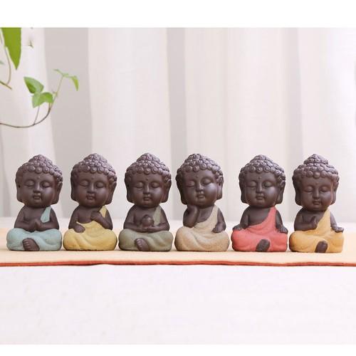 Bộ Tượng Phật Gốm Cát Tím - Đồ trang trí xe hơi, tiểu cảnh, tượng để bàn làm việc, trang trí nhà