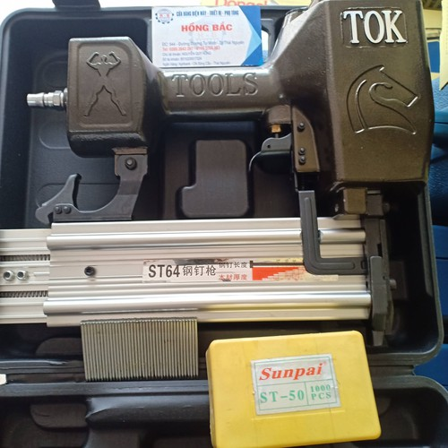 Combo Súng bắn đinh bê tông dùng khí TOK- ST64 và 1 hộp 1000 ghim ST50
