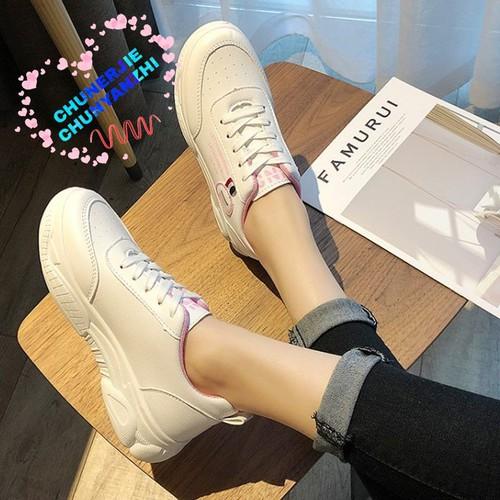 Giày sneaker nữ trắng Hàn quốc học sinh chất da giá rẻ- ảnh thật