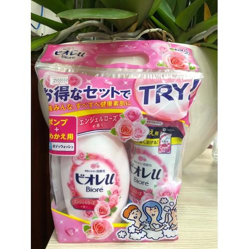 Thông tin về sữa tắm set 2 Biore màu hồng hương sữa