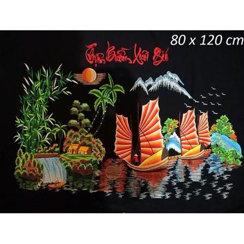 Tranh thêu Thuận Buồm Xuôi Gió thêu vi tính thành phẩm 80x120 cm