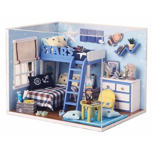Bộ lắp ráp mô hình nhà gỗ DIY: Căn Phòng Blue-H005