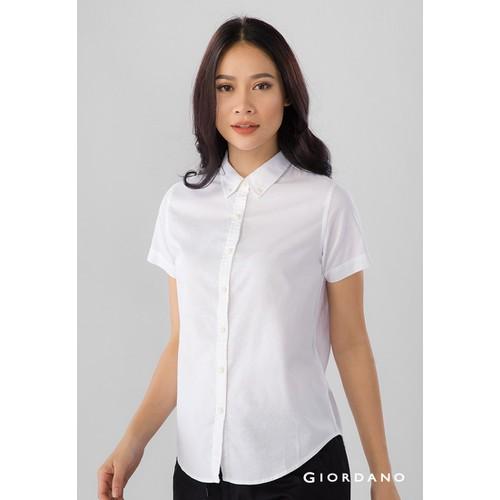 Áo Sơ Mi Nữ Tay Ngắn Giordano Oxford Shirts Màu Trắng