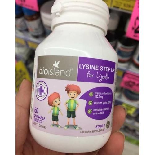 Viên tăng cao và miễn dịch Lysine step up Bio Island 60 viên