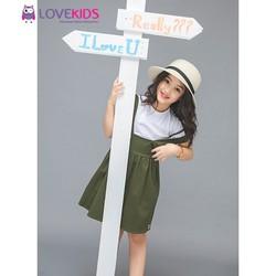 Set áo,váy yếm LoveKids – xanh bộ đội LK0324