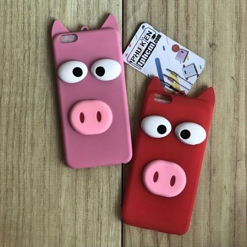 Ốp lưng iPhone 6 Plus - 6s Plus hình Heo 3D Mắt, mũi lòi