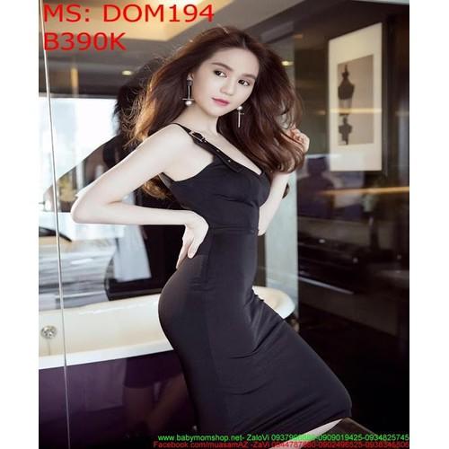 Đầm ôm 2 dây cài khóa thời trang sành điệu DOM194