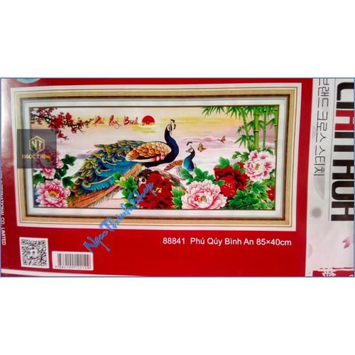Tranh thêu chữ thập đôi công Phú Qúy Bình An DLH-88841-85x40