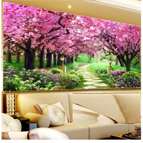 FJ0738-Tranh thêu Monalisa rừng cây màu tím-195*84
