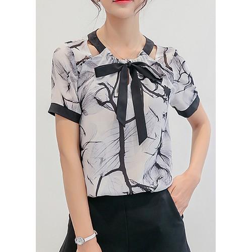 Áo sơ mi voan họa tiết cổ thắt nơ Lâm Anh shop ASM010