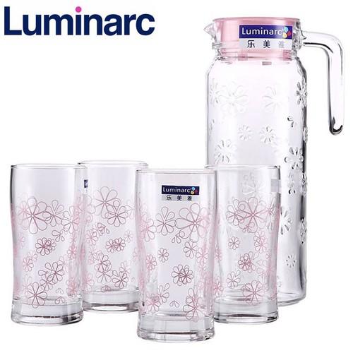 Bộ bình ly thủy tinh 5 món Luminarc Funny Flower J8515 - Hoa văn
