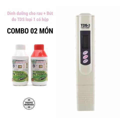 Combo 01 cặp dinh dưỡng thủy canh Hydroumart V 500ml cho rau ăn lá và 01 Bút đo thủy canh TDS-3 loại 1 có hộp