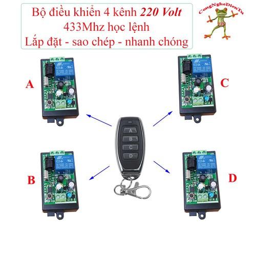 Bộ điều khiển từ xa RF 4 kênh -220 volt --- 1 remote ABCD+ 4 board 220v