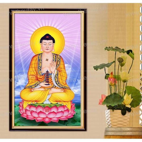 Tranh đá hạt tròn kim cương ABC Nam Mô Dược Sư Lưu Ly Quang Vương Phật-35x50 cm