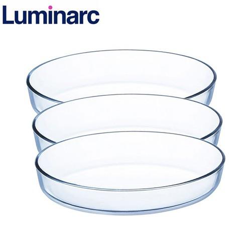 Combo 3 khay nướng thủy tinh Luminarc oval 35x27cm J1339