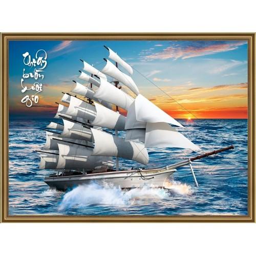 Tranh in canvas KIM SA 3D VTC Thuận buồm xuôi gió UD0043B1 kt 110 x 80 cm