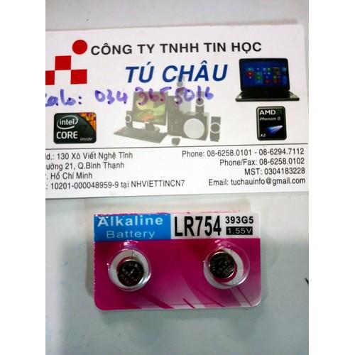 Pin nuôi nguồn cúc áo Watch Battery LR754 - 1.55V: LR754, G5, AG5, , LR48, 193, GP93A, 393, SR754W _1 Vĩ _2 Viên