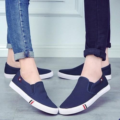 Giày lười nữ màu trắng  - Giày lười nữ vải