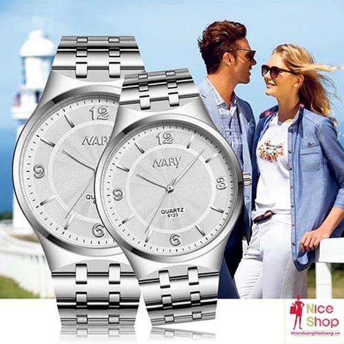 Giá 1 chiếc -  Đồng hồ cặpNary dây thépchính hãng - DHK152E