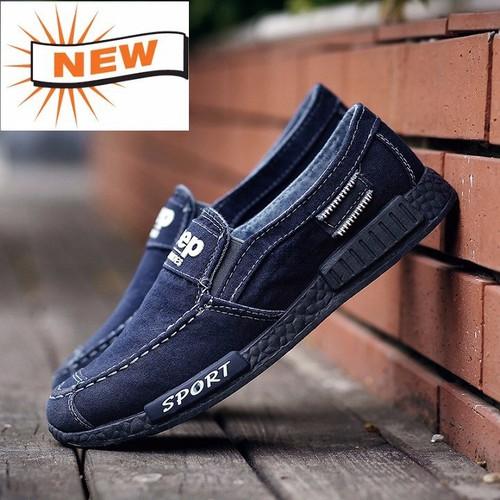 Giày lười nam vải bò - Giày lười thể thao nam - Giày lười