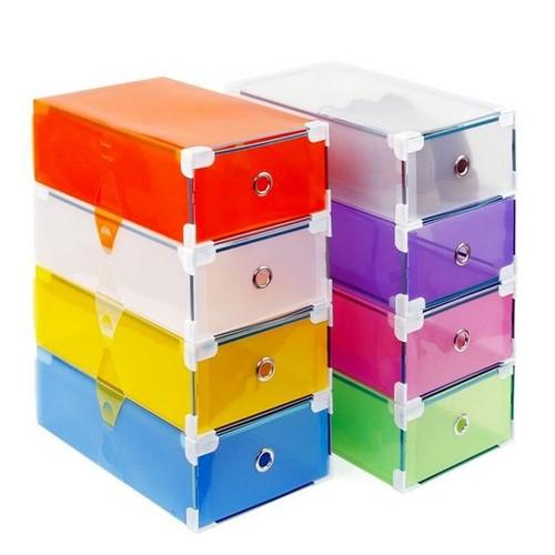 Bộ 5 Hộp đựng giầy có ngăn kéo Viền Kim Loại nhiều màu