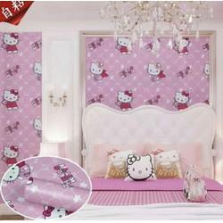 10m giấy dán tường hello kitty hồng rộng 45cm có keo sẵn