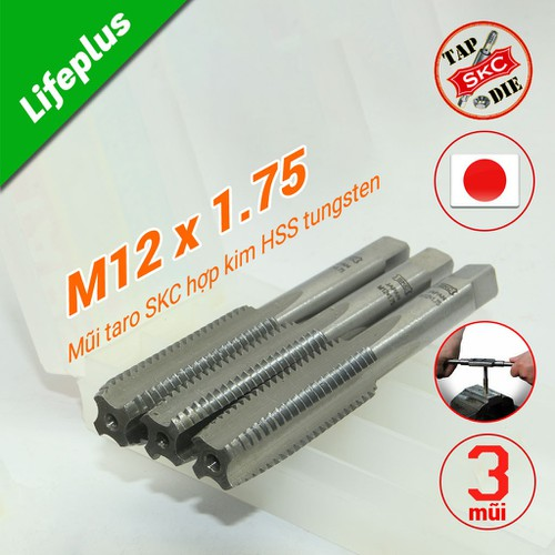 Bộ 3 mũi taro tay m12x1.75 skc-nhật