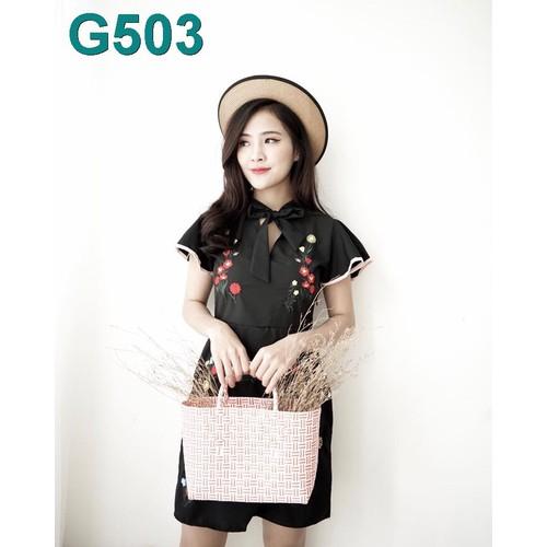 G503-ĐẦM THÊU TAY VIỀN HỒNG