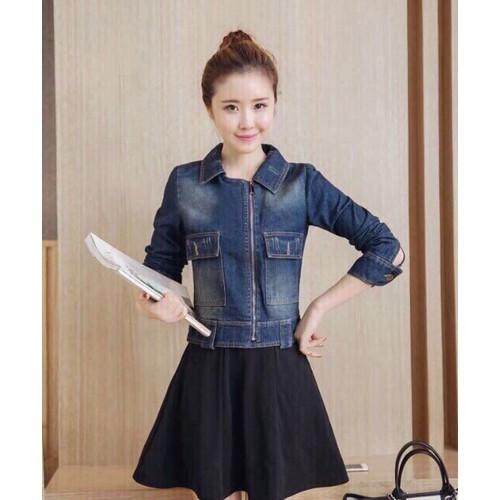 áo khoác jeans cổ giả vest