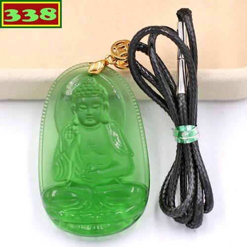 Vòng cổ Phật A Di Đà pha lê xanh lá 5 cm DEFNXL7 - Phật bản mệnh tuổi Tuất, Hợi