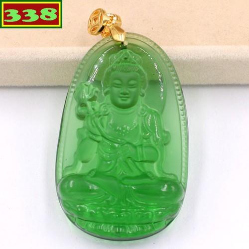 Mặt dây chuyền Phật Đại Thế Chí pha lê xanh lá 5 cm MFNXL4 - Phật bản mệnh tuổi Ngọ