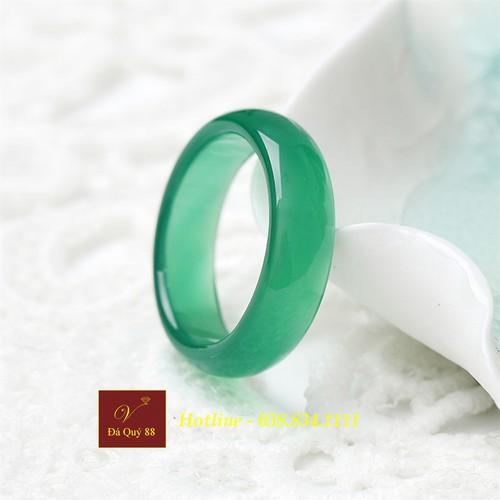 Nhẫn tròn đá mã não tự nhiên xanh Agate green