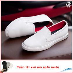 Giày Slip On Nam Aroti Đế Khâu Chắc Chắn Phong Cách Đơn Giản Màu Trắng - M498-TRANG|010419