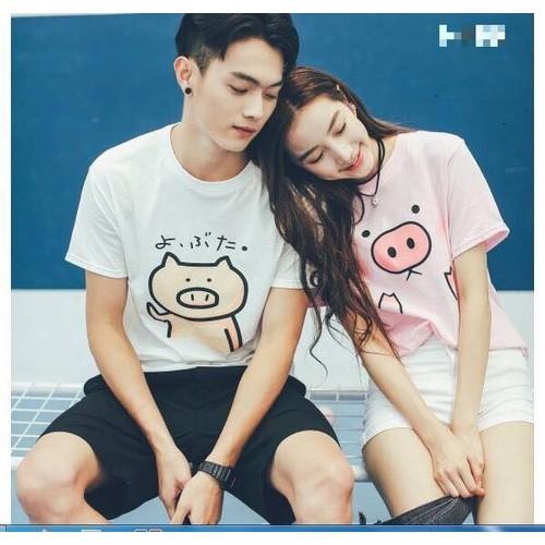 COMBO 2 Áo thun cặp đôi Nam Nữ phong cách Hàn Quốc  con heo - Thời trang GMH