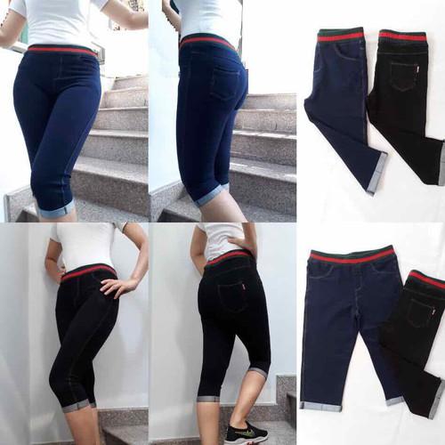 Quần legging giả jean lửng lưng sọc đỏ 40kg đến 70kg