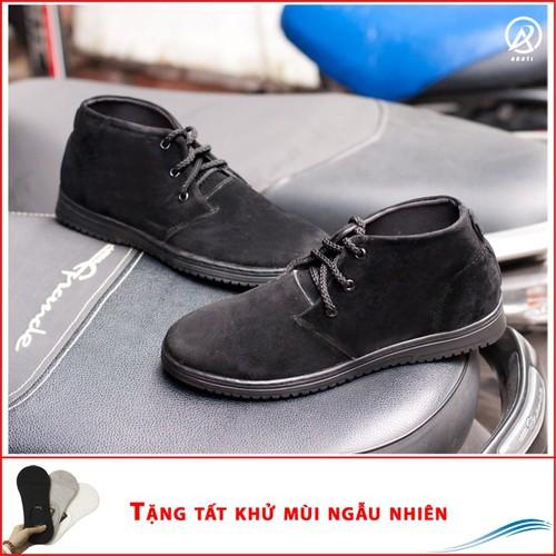 Giày Boot Nam Cổ Lửng Màu Đen Da Búc Đế Khâu Chắc Chắn - M443-DENBUCK|010419