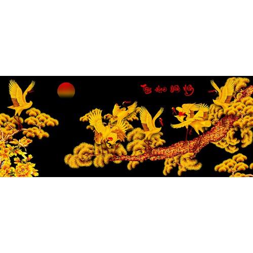 Tranh in canvas thư pháp VTC Tùng Hạc Diên Niên UD0119C1 KT 300 x 120 cm